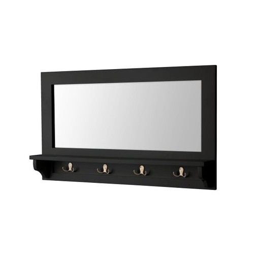 Black Wall Mount Entryway Mirror Coat Hooks Furniture