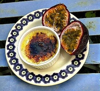 White Chocolate Crème Brûlée with Passion fruit