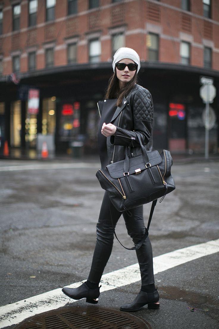 Jacket/Cazadora: H (Similar), Jumper/Jersey:Zara, Hat/Gorro:Hat World, Bag/Bolso:Phillip Lim, Boots/Botas:Alexander Wang, Pants/Pantalones:Zara(Similar), Sunglasses/Gafas:Ray Ban(image:fashionvibe)