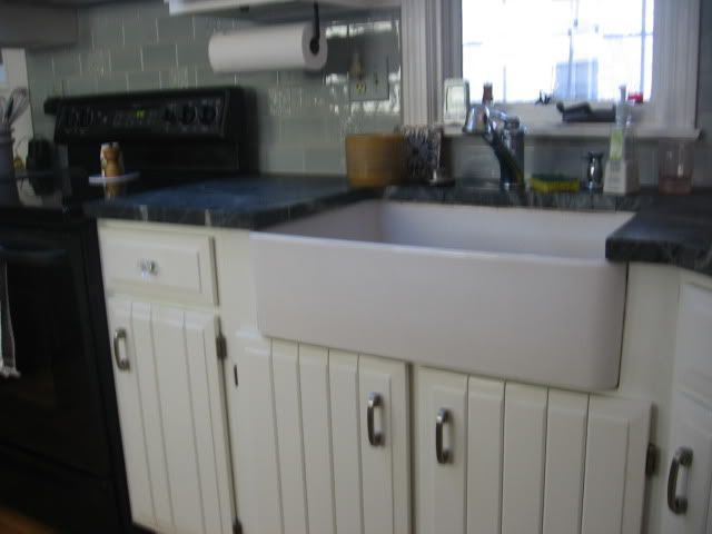 retrofit apron front sink in existing base cabinet