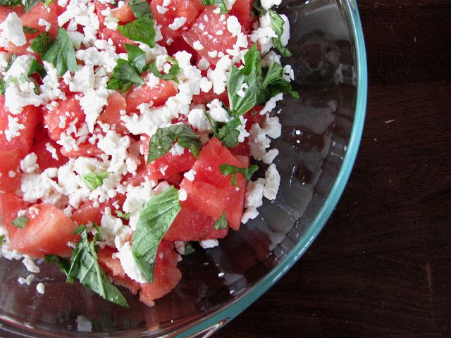 Watermelon Salad with Feta & Basil | Paleo with occasional dairy love ...