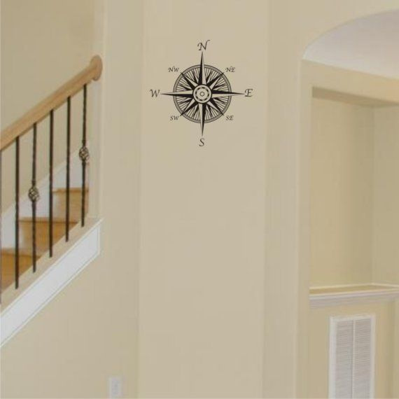 Small Nautical Wall Decor : Small compass nautical wall decal vinyl art decor for