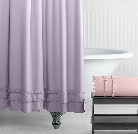 Vintage Ruffle Shower Curtain Vintage Bathroom