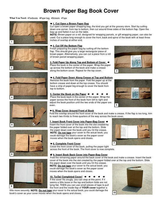 Paper Book Cover Directions : Paper bag book covers handmade journals pinterest