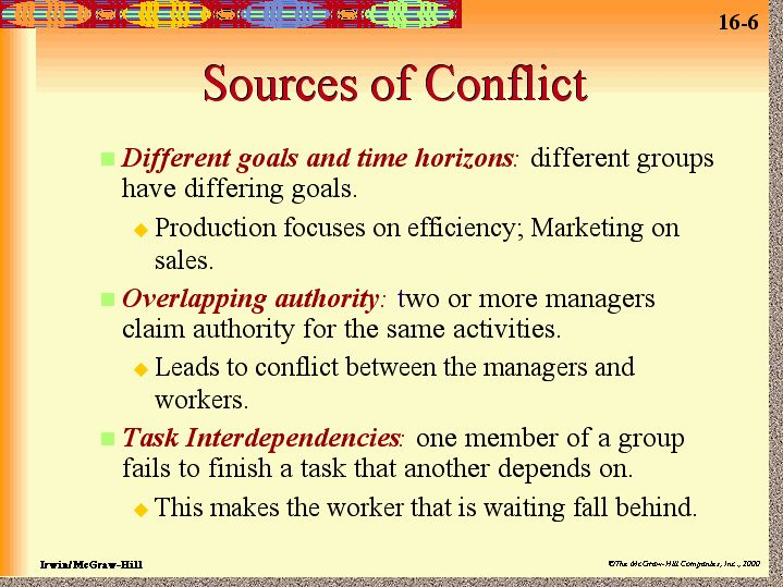 six sources of conflict Get to know the causes of conflicts in a project and how to resolve them understand what is the role of project manager in resolving the conflict and lead the project to a successful completion.