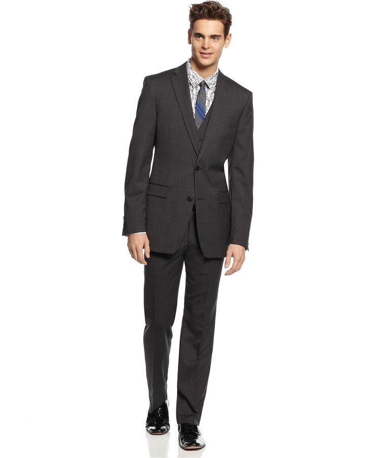 Bar III Dark Charcoal Slim-Fit Suit Separates