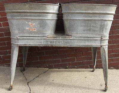 Double Wash Tub With Stand : Vintage Wheeling Glavanized Double Wash Tubs On Rolling Stand