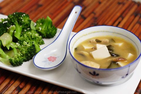 Double Mushroom Miso Soup And Sesame Broccoli. Must try and make this ...