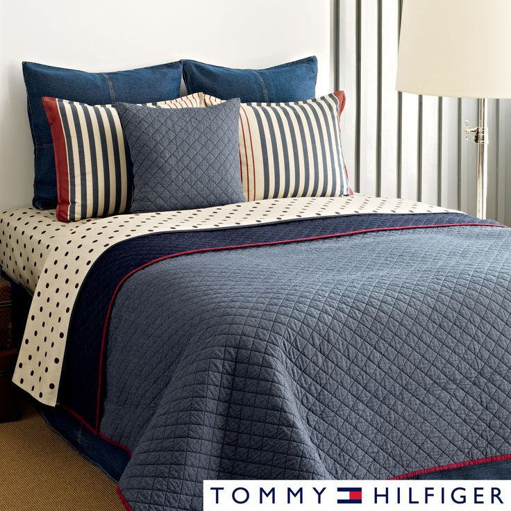 Tommy Hilfiger Chambray 3 Piece Cotton Reversible Quilt Set