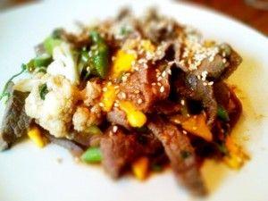 Paleo Sesame Mango Beef and Vegetables Stir Fry