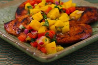 ... Grilled Lime and Chile Chicken with Mango and Red Bell Pepper Salsa