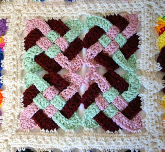 Free Celtic Knot Crochet Afghan Pattern : Crocheted Celtic knot afghan off white border granny ...