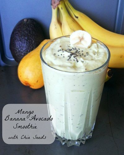 DIY Mango Bannana & Avocado Smoothie with Chia Seeds