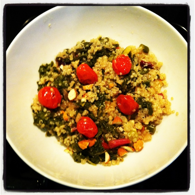 ... Swiss Chard, roasted cherry tomatoes, dried cranberries and almonds