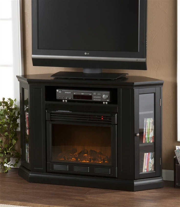 Black Corner Tv Stand Electric Fireplace Home Pinterest