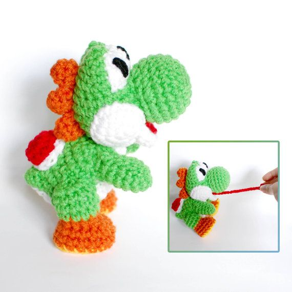 Crochet Patterns Yoshi : Yoshi Crochet Amigurumi Plush Doll - Inspired in Yoshis Wooly World