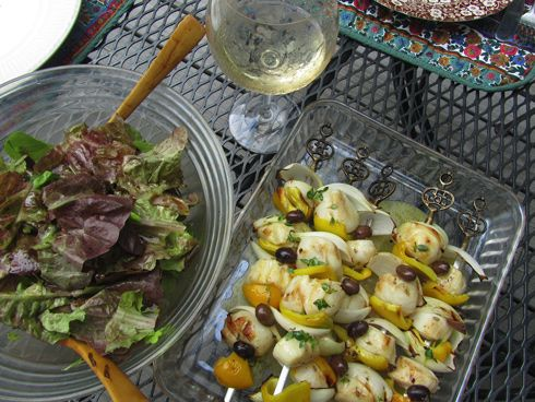 scallop skewers with herb oil recipes dishmaps grilled scallop kabobs ...