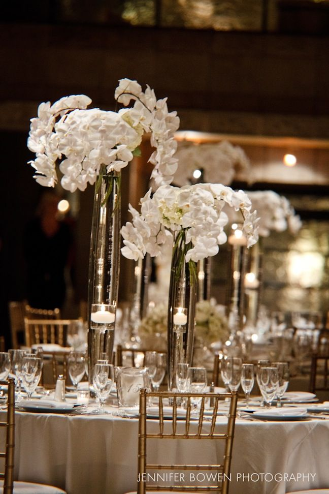 Tall White Orchid Floral Centerpieces 50thanniversary