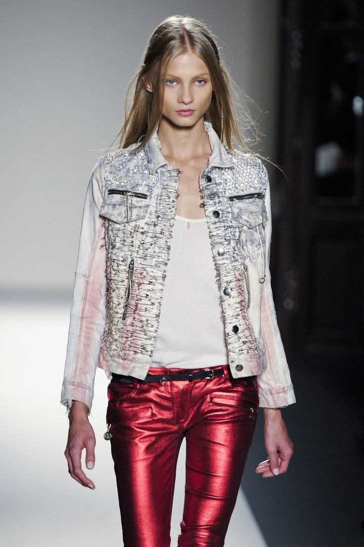 Balmain SS11 metallic red jeans
