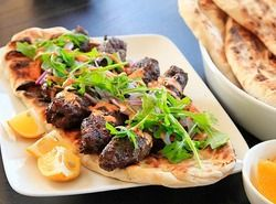 Kofte Kebabs with Spicy Harissa Yogurt Sauce and Grilled Flatbread (M ...