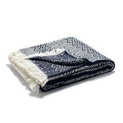 Traditional Nordic Wool Blanket (Navy)