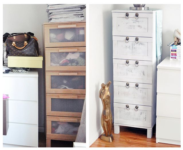 IKEA Hack: For our aneboda 3-drawer dressers with hairpin legs.