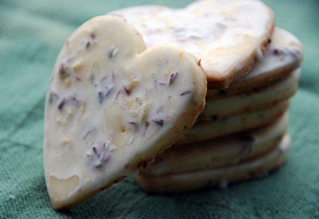 Lavender iced shortbread cookies