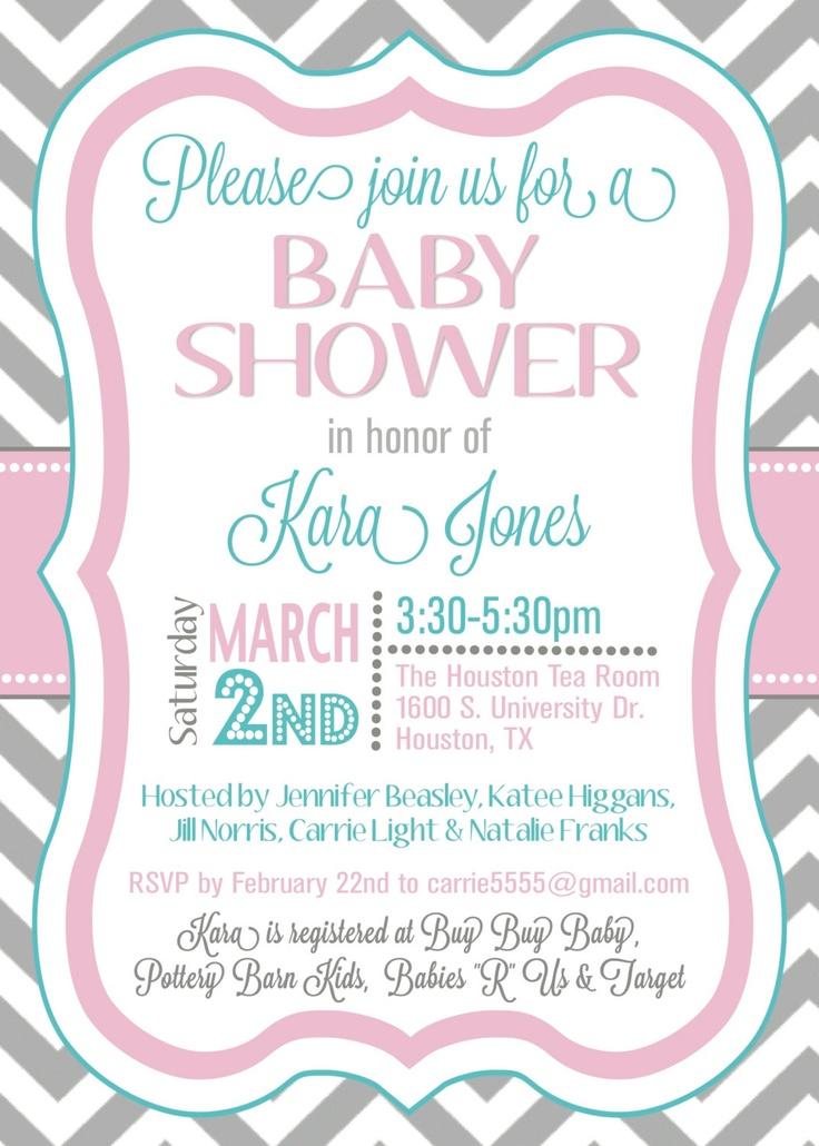 custom chevron baby shower invitation digital file via etsy