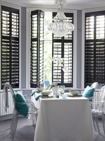 Pin by kel e picon on decorating touches pinterest for Decorating with plantation shutters