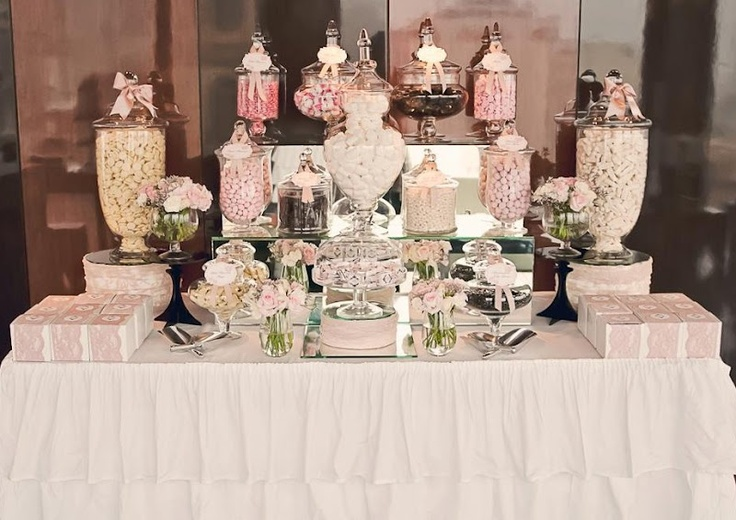 Candy buffet bar - I need to make ruffled tablecloth or buy them