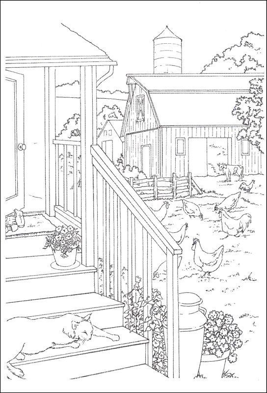 Farm scene pages coloring pages for Farm scene coloring page