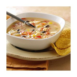 An easy chicken soup with tomatoes, corn, and black beans made quickly ...