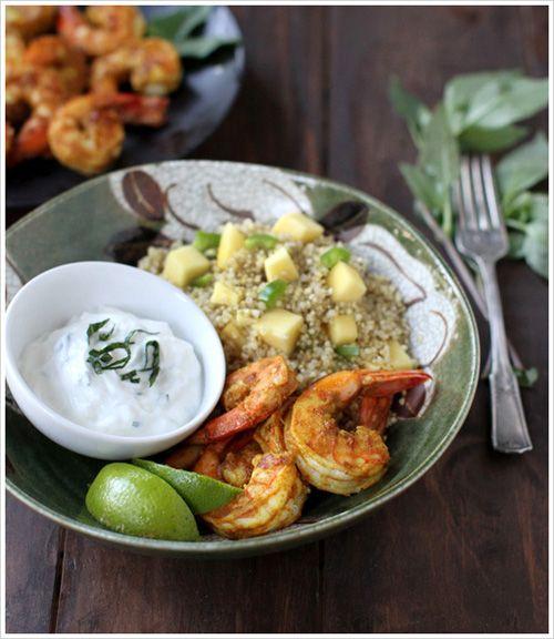 Curry shrimp with mango spiced quinoa and and thai basil yogurt!