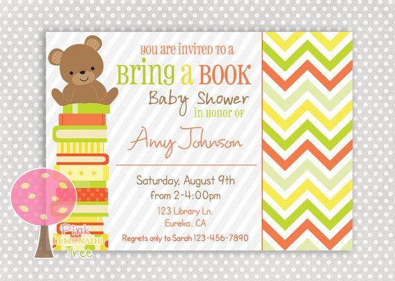 bring a book baby shower invitation gender neutral