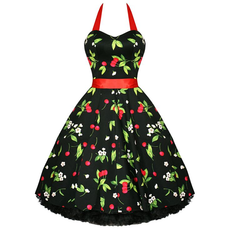 Black red cherries amp blossoms swing dress modern grease clothing
