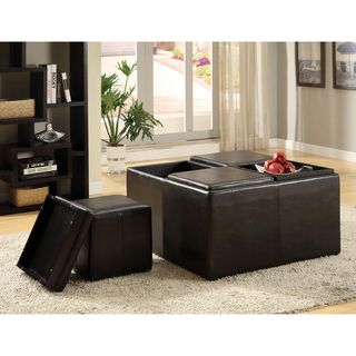 Furniture of America Miller Storage Ottoman with Four Nesting Stools ...