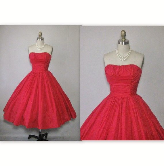 1950s Strapless Red Shelf Bust Taffeta Cocktail Party Prom Dress