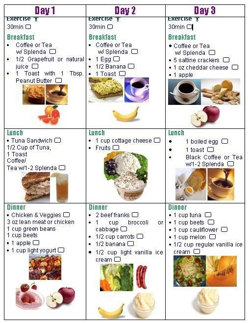 3 day diet checklist (better visual representation)