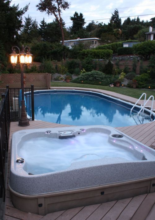 Above ground pool and spa with deck for the home pinterest for Above ground pool decks with hot tub