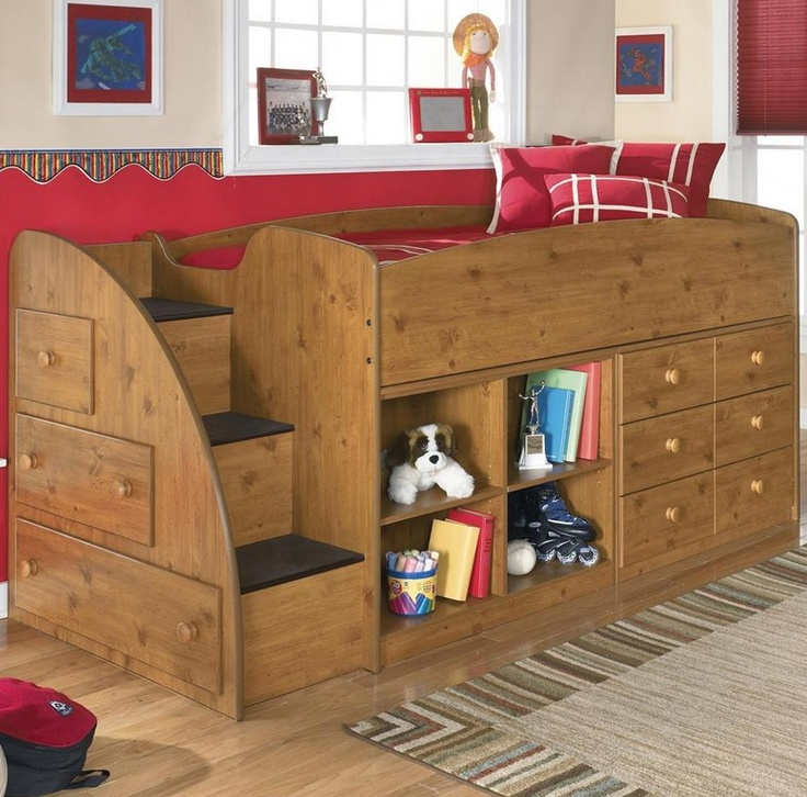Storage loft kids bed king louis pinterest for Big w bedroom storage