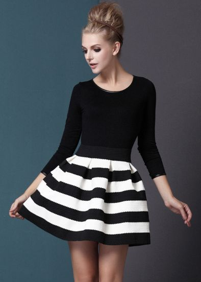 Black White Striped Stripe Dress