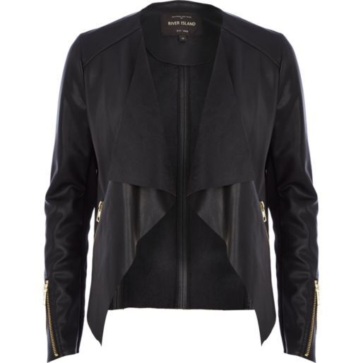 Lovley quality black faux leather and fabric lined jacket which can be worn as a waterfall or biker style. It has a soft draped jersey front, slant zip fasten pockets and the underside of .