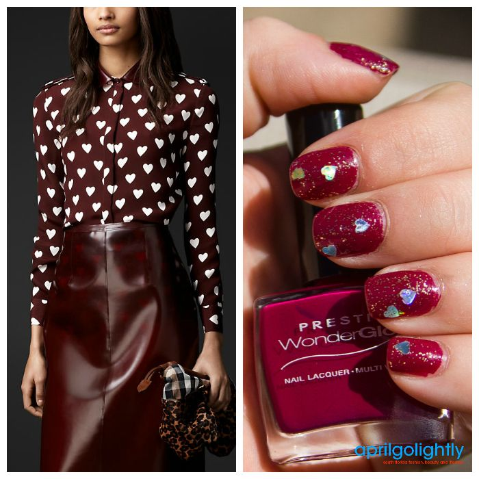 MANIcure MonDAY: Burberry Runway Inspired Nails in heart print using Prestige Nail Polish by April Golightly