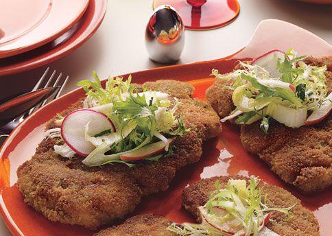 Chicken Schnitzel with Frisée-Apple Salad: Recipe: bonappetit.com