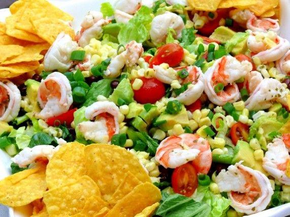 Cilantro-Lime Shrimp, Corn and Black Bean Taco Salad NoblePig.com