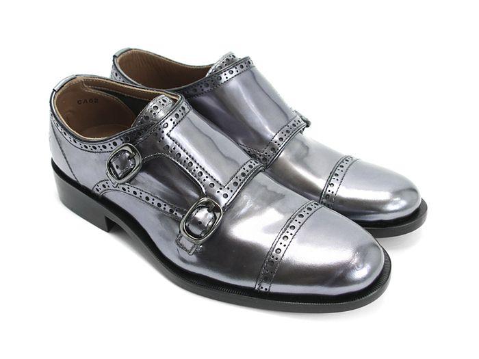 Metallic silver monk strap shoes for women, by Fluevog