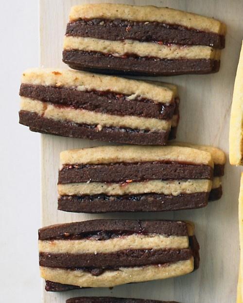 Chocolate Pecan Layered Icebox cookies... with raspberry jam