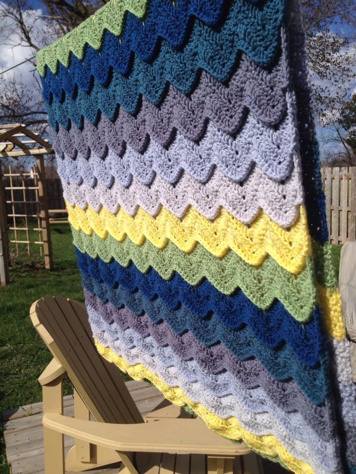 Crochet Ocean Wave : Variation on Ocean Wave crochet afghan. Before you change color do a ...