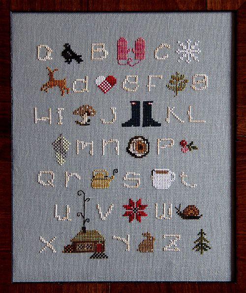 winter cross stitch sampler