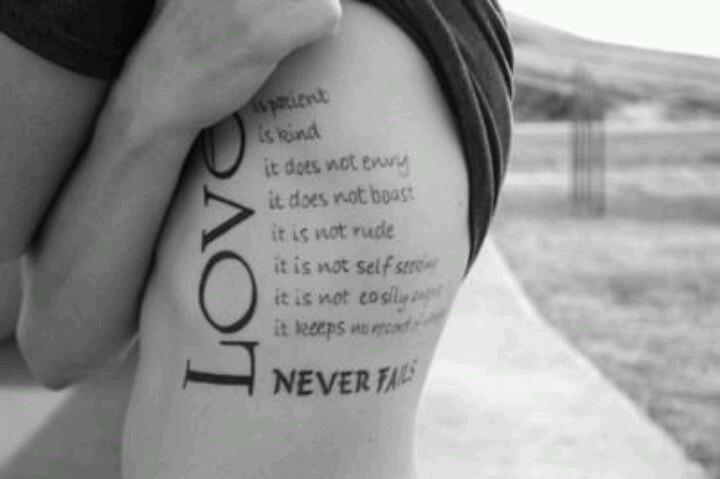 Love Never Fails Tattoos Designs